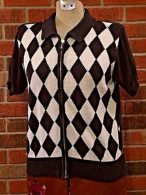 Womens Med Sweater T-Shirt Blouse Ladies Checkered Black/Wte Zip-up Warm Referee