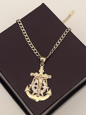 Real 10k Gold Cross Crucifix Anchor Ship Wheel Charm Pendant Cuban Chain 22