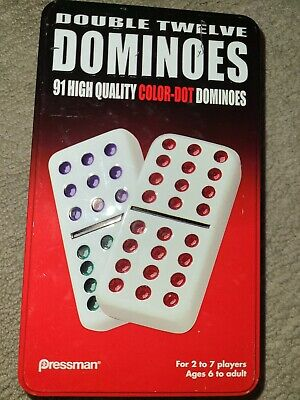 Double Twelve Color Dot Dominoes 91 in Tin High Quality Pressman Complete