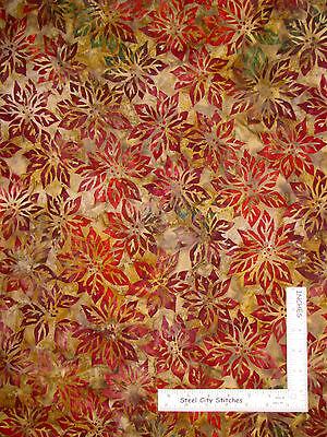 Batik Poinsettia Christmas Flower Cotton Fabric Robert Kaufman Northwoods - YARD ()