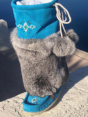 Turquoise Tall Shoes - NIB CANADIAN Tall Turquoise SUEDE MUKLUK with Gray Rabbit Fur