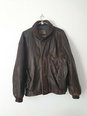 Vintage Brown Leather Jacket mens flight motorcyc bomber Next size large