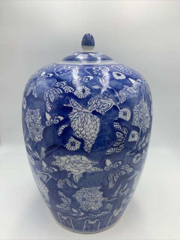 """Vintage Chinese GINGER JAR Urn Lid BLUE WHITE Floral Butterflies Moths 14"""" Large"""