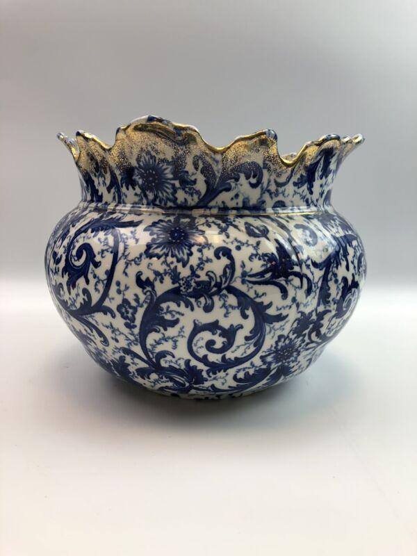 Maddocks works Royal porcelain Fancy punch bowl Gold, blue & white floral