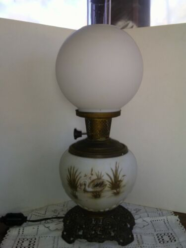Antique Kerosene GWTW Lamp Painted with Swan Electrified Working