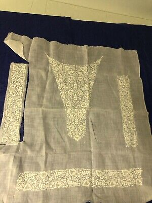 Antique Edwardian tea dress whitework white embroidery yoke, cuffs & waist band