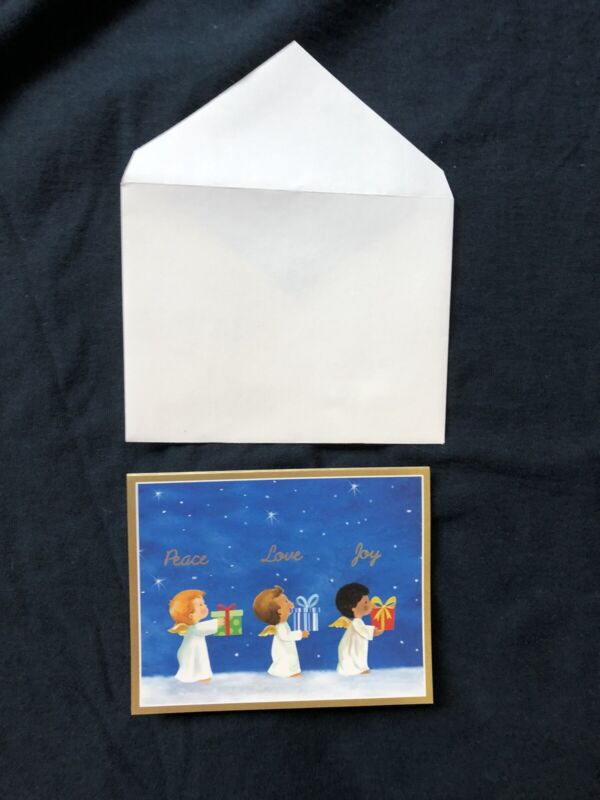Caspari Christmas holiday cards 16 in box with envelopes angels small