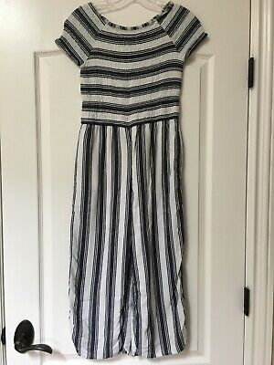 Abercrombie Kids Girls Size 11 12 Grey White Striped Smoked Jumpsuit EUC