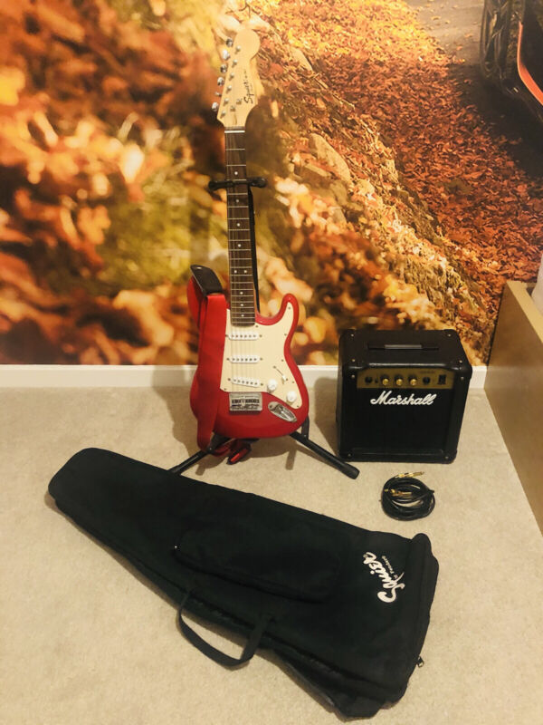 Fender Squire Mini Electric Guitar with Marshall Amp, Storage Bag & Stand