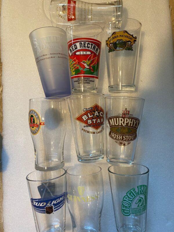 Lot of 10 Beer Glasses , Budlight, Foster Samuel Adams ,Murphy's , Steinlager ..