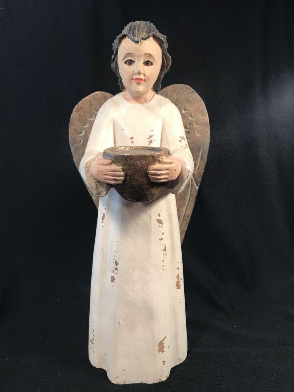 """15"""" Pottery Barn Carved Wooden Angel Votive Holder Figure LG Figurine primitive"""