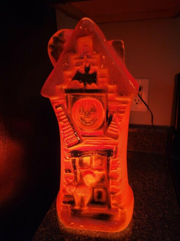 "17"" Vintage Bayshore Halloween ORANGE Haunted House Mansion Blow Mold Display"