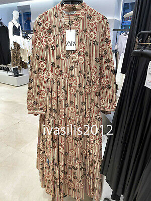 ZARA NEW WOMAN MIDI VOLUMINOUS FLORAL PRINTED DRESS A-LINE CAMEL XS-XXL 2731/072