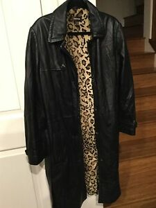 Black & Leopard Authentic Danier Leather Coat