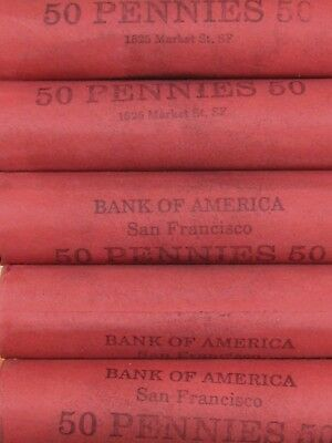 (FIVE) BoA SF Lincoln Wheat Cent Penny Rolls Lot Old US Coins 1909-1958 P D S