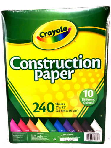 "Crayola Construction Paper 240 9""x12"" Sheets 10 Different Colors"