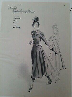 1948 women's Handmacher suit dress Nichols fashion illustration art vintage ad