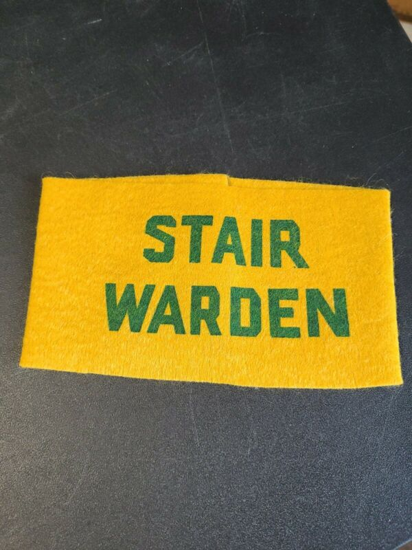 Vintage Wool Stair Warden Armband City Fire Dept. Firefighter Evacuation Pc.