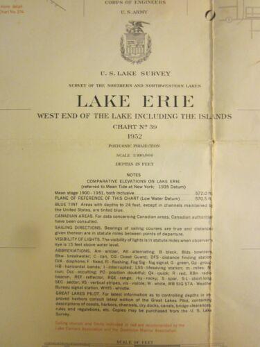 Army Corp Engineers Maritime Survey Chart Map 1952  Lake Erie Toledo Ohio  36x30