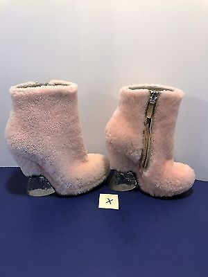 Pink FENDI Ice Heels Wedge Boots Fur Ankle 38 Rose Shearling Italy Shoes *SALE!*