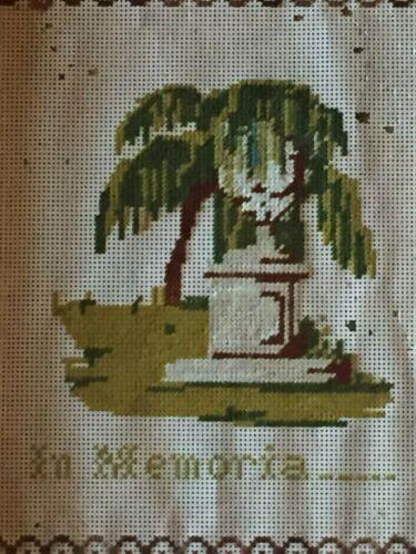 Victorian Mourning Weeping Willow Cemetery Gravestone Memento Memorial Sampler