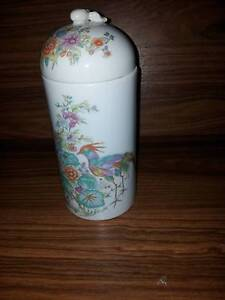 Elizabeth Arden Tall Covered Dish with Tropical Flowers and Birds Para Hills Salisbury Area Preview