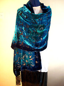 Velvet devore scarf/shawl  Blue/jade green floral design on black    NEW
