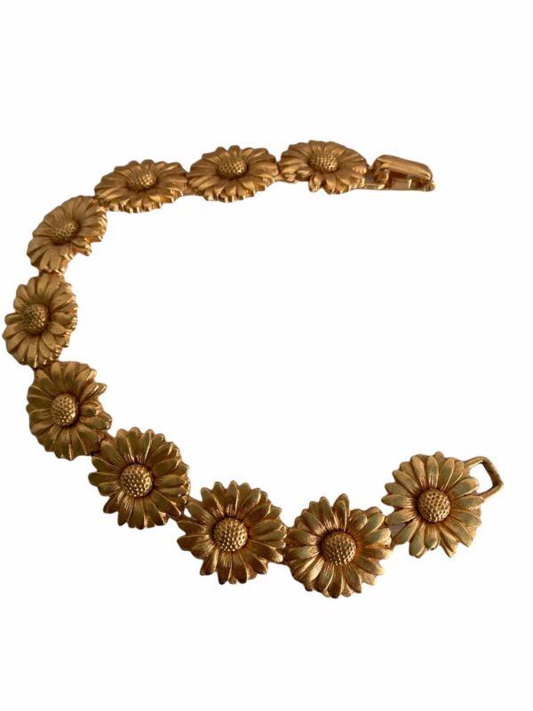 ESCADA Gold sunflower bracelet vintage Signed Costume 1990s