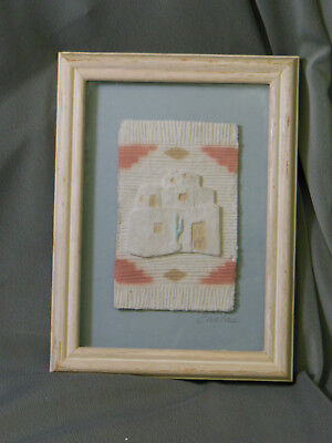 Southwest Native Design HAND CAST PAPER framed Art signed by Carlos BEAUTIFUL