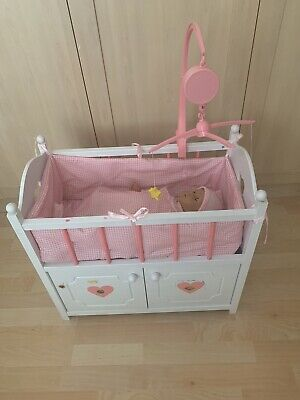 Dolls Wooden Cot And Doll