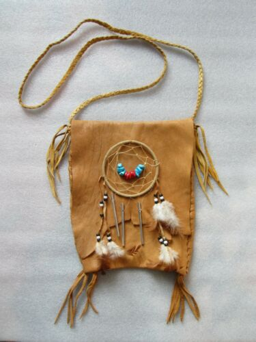 Native American Indian Handcrafted Dream Catcher Wind Chime Moose Hide Bag 11""