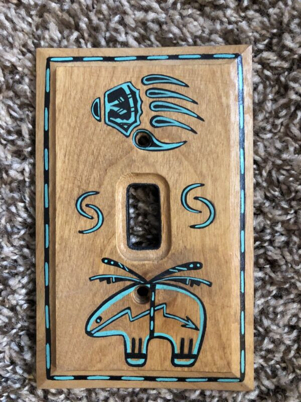 Southwest Switch Plate Cover Wood Native American Motif  Amer Tac