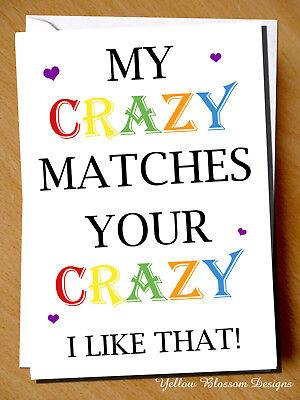 Funny Anniversary Wedding Valentines Xmas CRAZY Birthday Card Couple Friendship ()