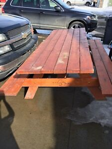 large solid picnic table