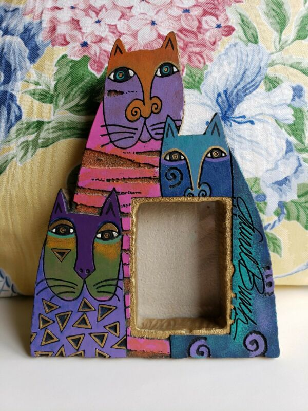 "Laurel Burch🐈MYSTICATS🐱Photo Cat Frame🐱Pre-owned🐈Resin🐱7"" X 5""🐈"