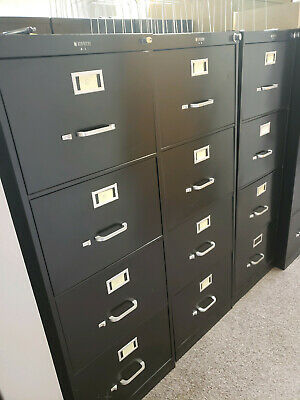 File Cabinet Vertical 4 Drawers W Folders Sturdy Black Metal Local Pick Up-mi