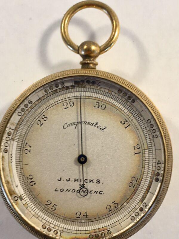Fine Gilded Brass Compensated Pocket Barometer Altimeter J. J.Hicks of London
