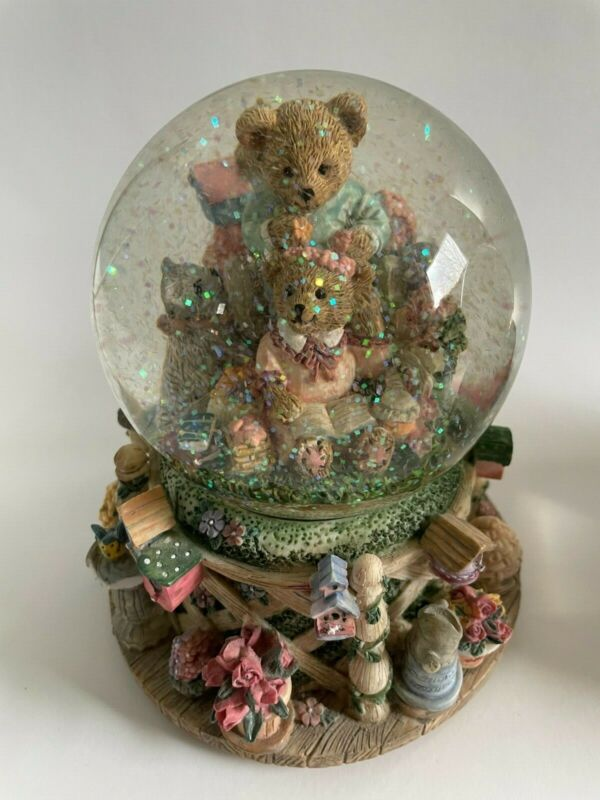 Intricate Bears & Cat In A Floral Spring Garden Musical Snow Globe