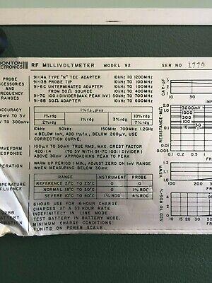 Boonton 92b 9692 Rf Millivoltmeter