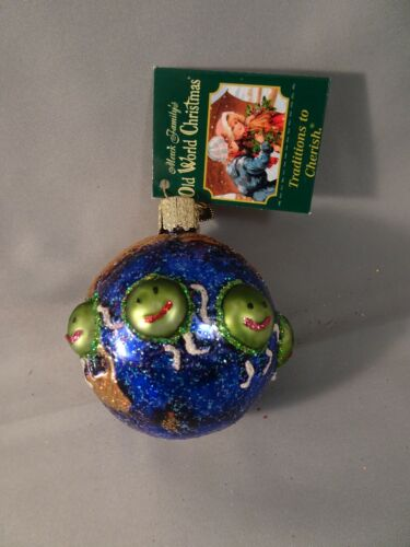 """NOS w Tag 2010 Old World Christmas OWC WORLD PEACE 2.5"""" WHIRLED PEAS Whimsical"""