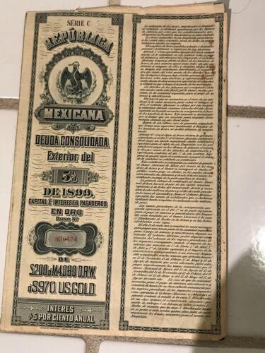 Mexican decorative bond on parchment paper, 1899.  Ex. Con.