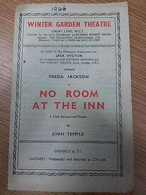 1946 Theatre Programme: Freda Jackson in NO ROOM AT THE INN - By Joan Temple
