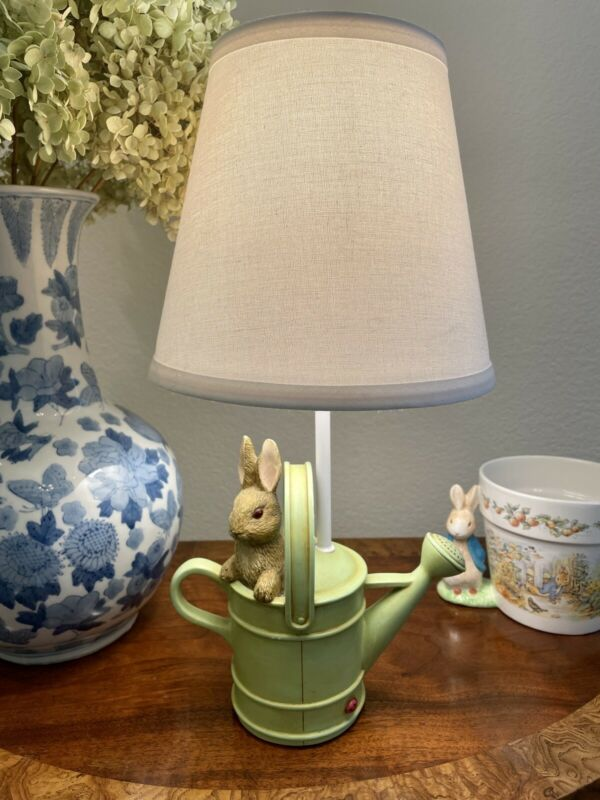 Beatrix Potter Peter Rabbit Watering Can Nursery Kids Lamp w/Clip On Shade