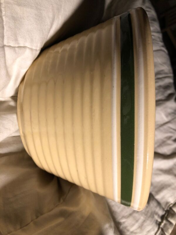 Watts Pottery Green/White Stripe Rigid Mixing Bowl #8