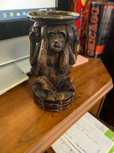 """Vintage Decorative Famous 3 Monkey Candle Holder 71/2"""" high EX cond."""