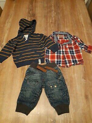 Cooles Outfit für Jungen (3 tlg.), Jeans + Hemd + Kapuzen-Strickpullover, Gr. 74