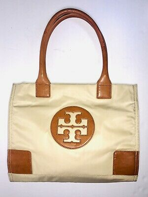 Womens Tory Burch Ella Mini Nylon Tote Bag Beige/Sand Handbag Purse