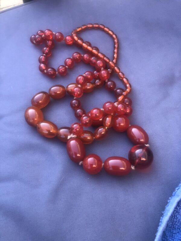Vintage Amber Bakelite Beads & Cherry Beads
