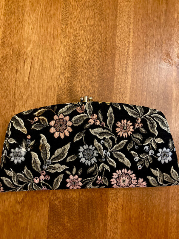 Vintage Baronet wallet, black with tapestry, multiple compartments