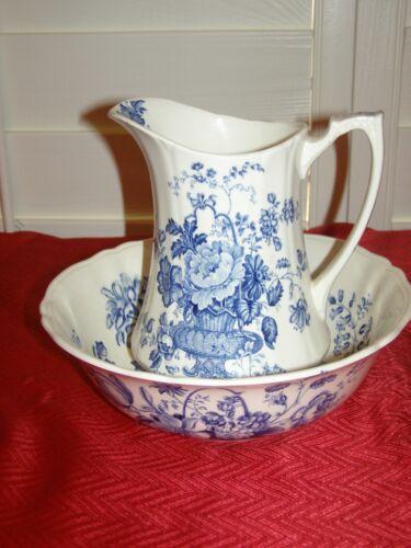 Vintage Alfred Meakin Blue Charlotte Pattern Pitcher & Bowl Set